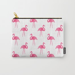 Linocut flamingo tropical bird pattern minimal bird lover summer decor Carry-All Pouch