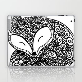 Black and White Mandala Fox Design Illustration Laptop & iPad Skin