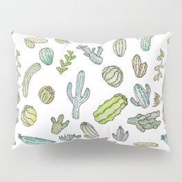 Cute Green Watercolor Paint Summer Cactus Pattern Pillow Sham