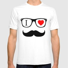I Love Hipster SMALL Mens Fitted Tee White