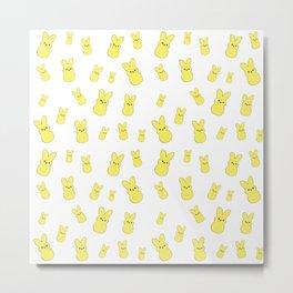 Yellow Bunny Peeps Pattern Metal Print