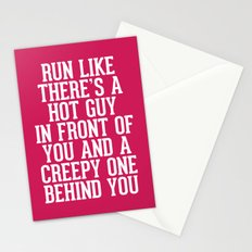Hot Guy In Front Funny Running Quote Stationery Cards
