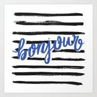 bonjour Art Prints featuring Bonjour! by magicmaia