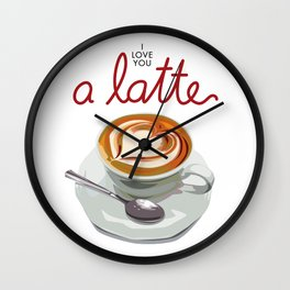 Love You a Latte Wall Clock