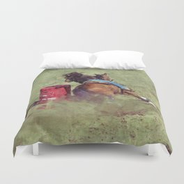 The Barrel Racer - Rodeo Horse and Rider Duvet Cover