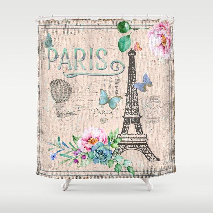 vintage shower curtain. Paris - My Love France Nostalgy- Pink French Vintage Shower Curtain 2