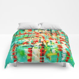 on my street -turquoise abstract Comforters