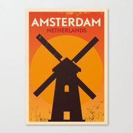 Amsterdam City Retro Poster Canvas Print