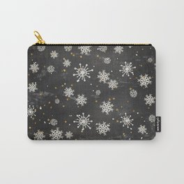 Boho Black Snowflakes Carry-All Pouch