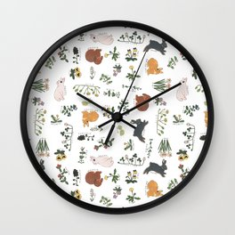 Bunnies and spring flowers Wall Clock