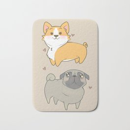 Corgi and pug Bath Mat
