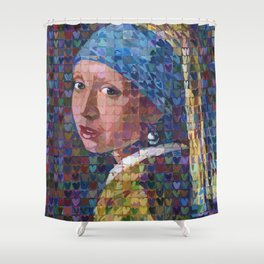"I ""Heart"" Girl With A Pearl Earring Shower Curtain"