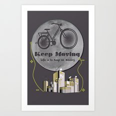 Moon Keep Moving Bicycle Art Print