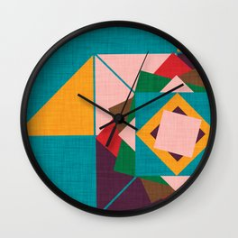 wind rose teal Wall Clock