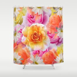 Spring Flowers Galore Absstract Shower Curtain