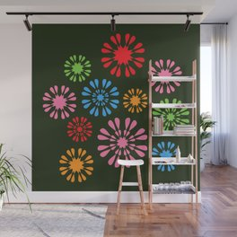 Colorful snowflake flowers on dark background Wall Mural