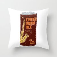 ale giorgini Throw Pillows featuring Chicago Brown Ale by Moto