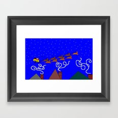 Santa and His 9 Tiny Reindeer Framed Art Print