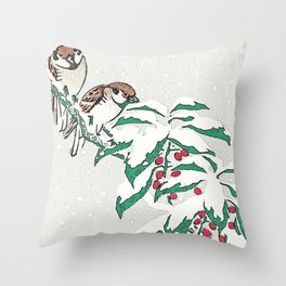 Christmas card Detail Sparrows in snow Throw Pillow