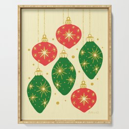 Vintage Festive Hand-painted Christmas Tree Ornaments with Beautiful Acrylic Texture, Green and Red Serving Tray