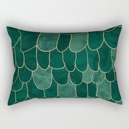 Stratosphere Emerald // Abstract Green Flowing Gradient Gold Foil Cloud Lining Water Color Decor Rectangular Pillow