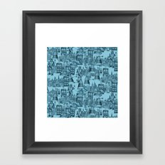 Doctor Who Toile de Jouy | 'Walking Doodle' | Turquoise Framed Art Print