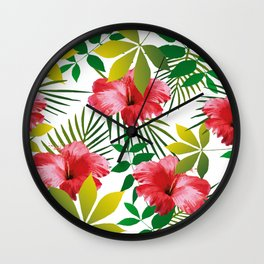 Hibiscus Flower and Leaf Wall Clock