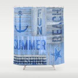 Blue Summer Beach Wood Shower Curtain