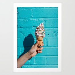 Holding a colorful ice cream Art Print