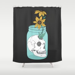 Skull in Jar with Flowers Shower Curtain