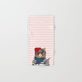 French Cat Hand & Bath Towel