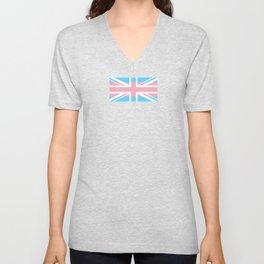 Gay Pride LGBT Trans UK Union Jack Flag Stripes design Unisex V-Neck