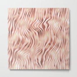 Pink and Gold Zebra Pattern Metal Print