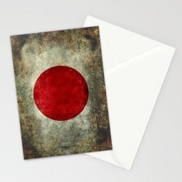 Japanese Flag in grungy retro style Stationery Cards