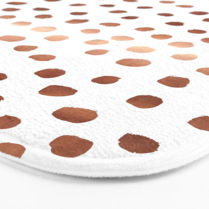 Rose Gold copper sparkle modern dots polka dots rosegold trendy pattern cell phone accessories Bath Mat