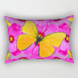 GOLDEN BUTTERFLIES FUCHSIA PINK FLORAL GREY ART Rectangular Pillow