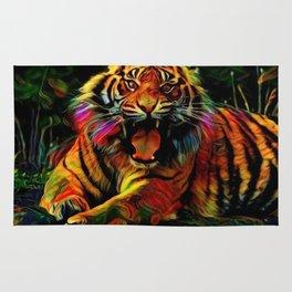 Dark Hipster Tiger (Wildlife Roar and Colorful) Rug