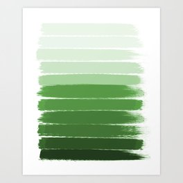 Yote - ombre green brushstrokes abstract minimal canvas painting art decor Art Print