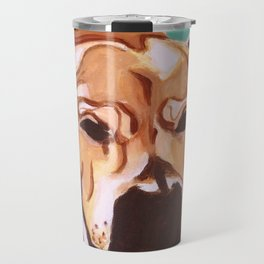 Painting of pet/dog Labrador Mix on Teal Travel Mug