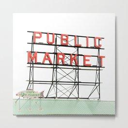 Public Market Seattle Pike Street Fish Neon Sign Northwest Washington Metal Print