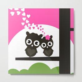 Enamoured owls Metal Print
