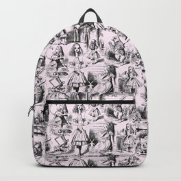 Alice in Wonderland | Toile de Jouy Pattern | Black | Pink | Vintage Pattern | Victorian Gothic | Backpack