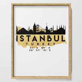 ISTANBUL TURKEY SILHOUETTE SKYLINE MAP ART Serving Tray