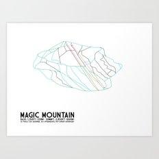 Magic Mountain, VT - Minimalist Winter Trail Art Art Print