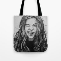 selena gomez Tote Bags featuring Hello Selena! by vooce & kat