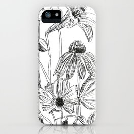 flower party black and white iPhone Case