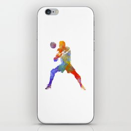 Volley ball player man 02 in watercolor iPhone Skin