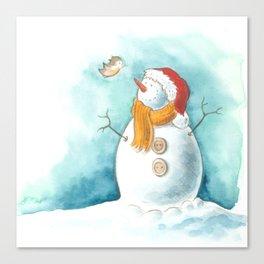 A snowman and a little bird Canvas Print