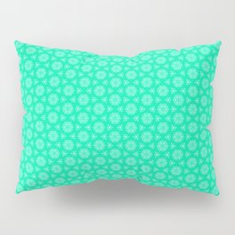 Turquoise and Soft Green Feminine Mini Mandala Kaleidoscope Country Design Pattern Pillow Sham
