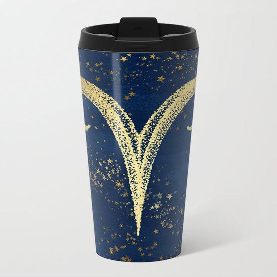 Aries Zodiac Sign Metal Travel Mug